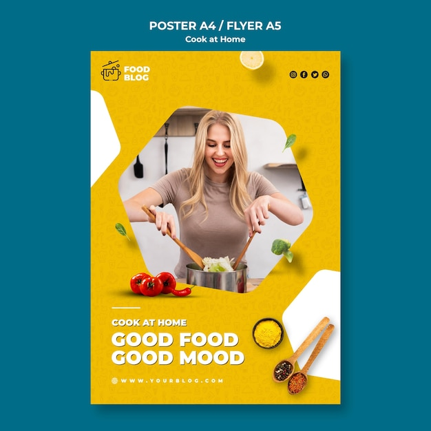 Cook at home poster Free Psd