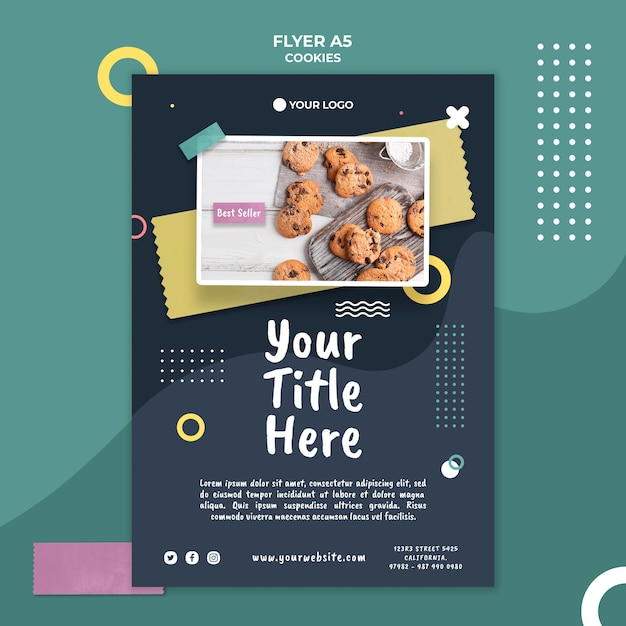 Шаблон флаера магазина печенья Бесплатные Psd
