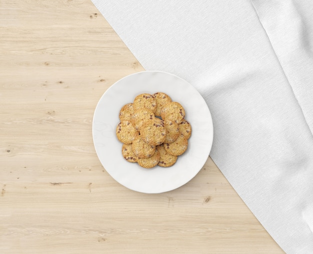 Cookies plate on wooden table Free Psd