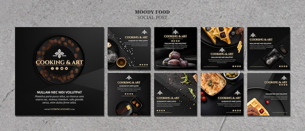 Cooking and art social media post Free Psd
