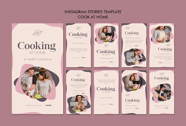 Cooking at home instagram stories Premium Psd