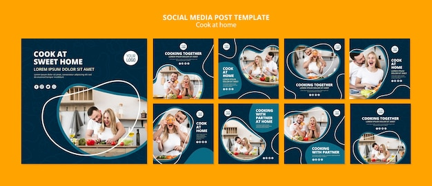Cooking at home social media post Free Psd