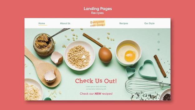Шаблон целевой страницы рецептов кулинарии Бесплатные Psd