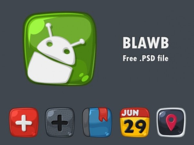 Cool android small icons psd Free Psd