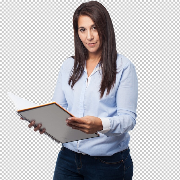 Cool business woman with notebook Premium Psd