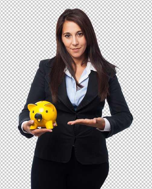 Cool business-woman with piggy-bank Premium Psd