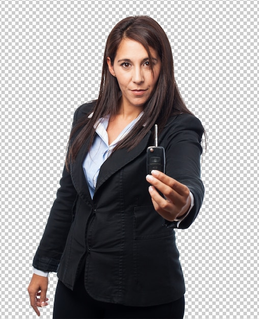 Cool business woman with remote control car Premium Psd