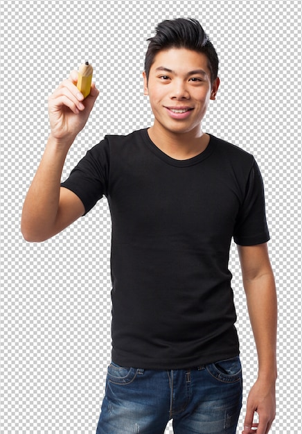 Cool chinese-man with pencil Premium Psd