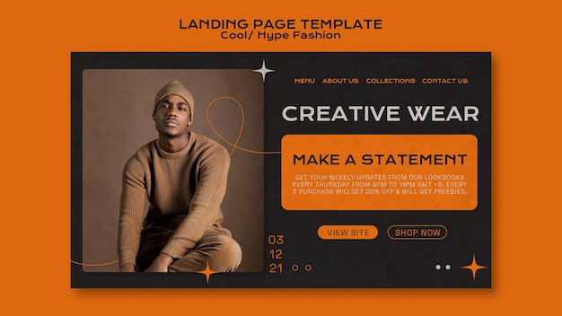 Cool fashion landing page Free Psd