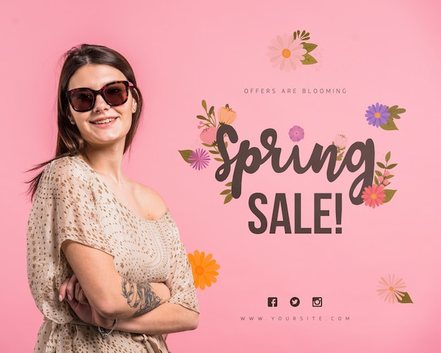Copyspace mockup for spring sale with attractive woman Free Psd