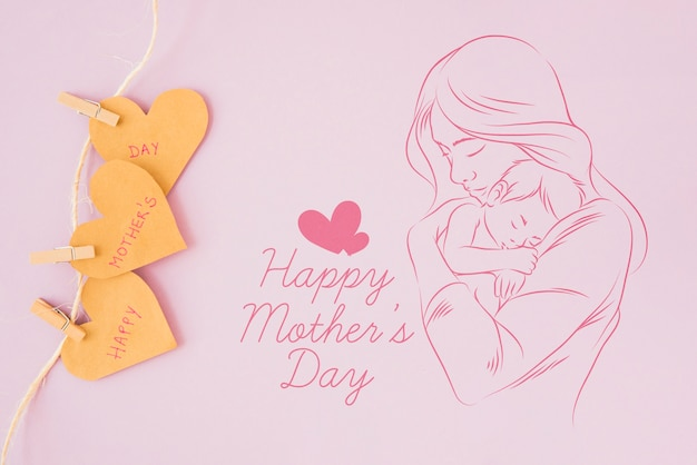 Copyspace  mockup with flat lay mothers day composition Free Psd