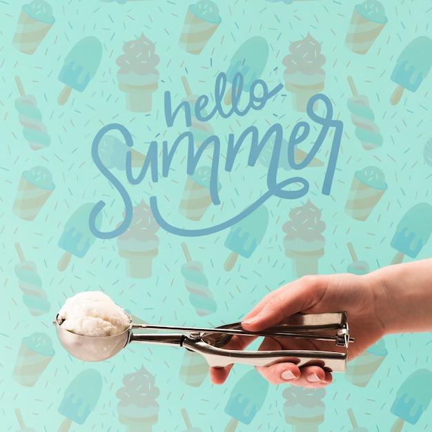 Copyspace mockup with ice cream Free Psd