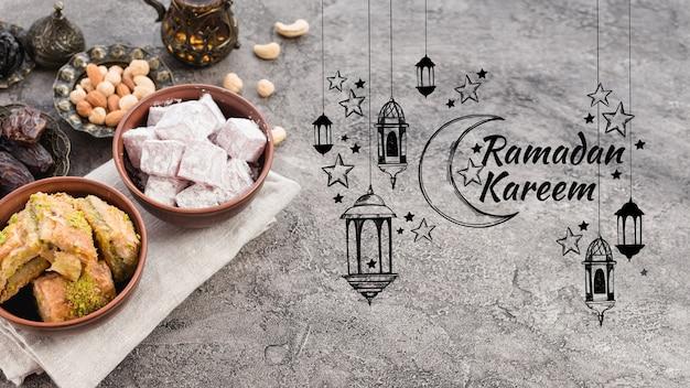 Copyspace mockup with ramadan concept Free Psd