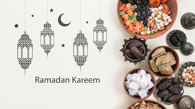 Copyspace mockup with ramadan concept Free Psd