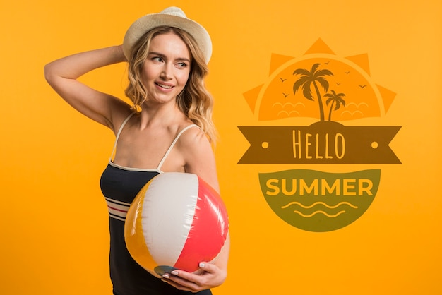 Copyspace mockup with summer concept next to attractive woman Free Psd