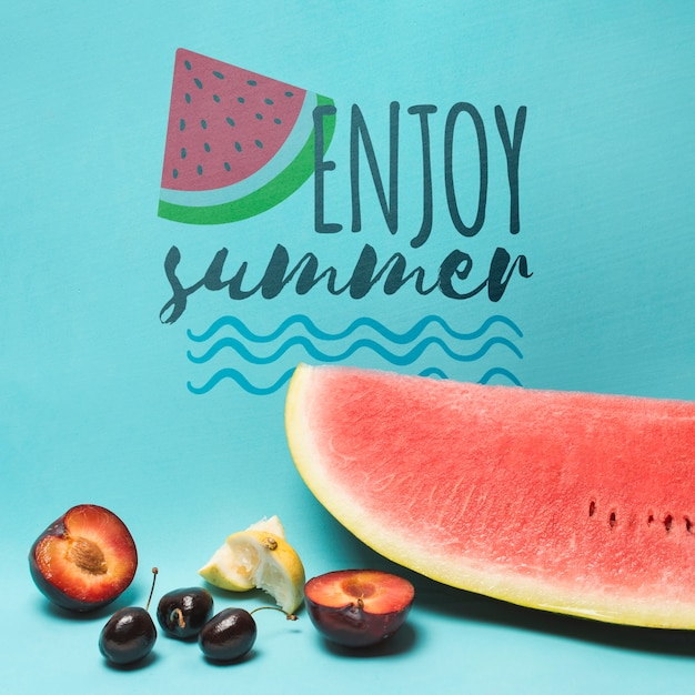 Copyspace mockup with watermelon and fruits Free Psd