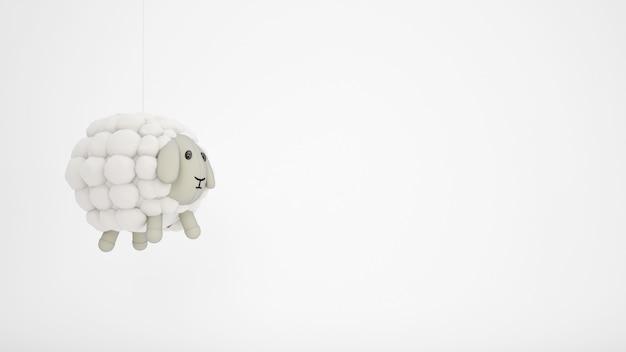 Очаровательная игрушка для детей из овечьей шерсти с белым copyspace Бесплатные Psd