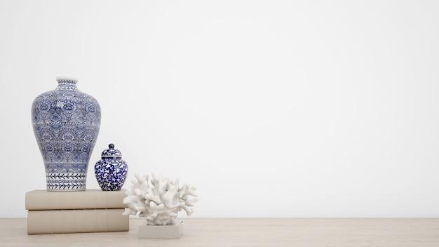 室内装飾とcopyspaceと白い壁のための古典的な花瓶 無料 Psd