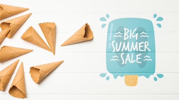 Copyspaceと夏のアイスクリーム組成 無料 Psd