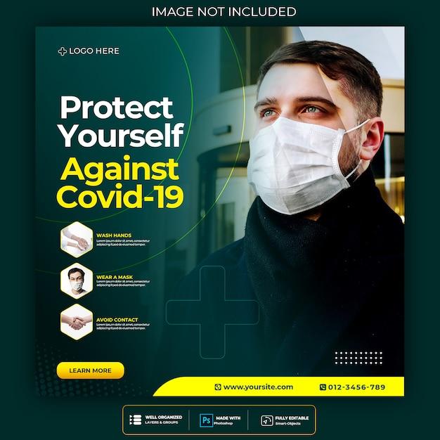Corona virus warning social media square post  flyer template Premium Psd