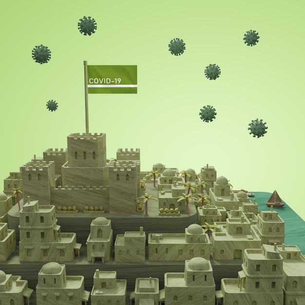 Модель города коронавирус Бесплатные Psd