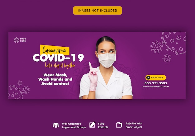 Шаблон обложки для coronavirus или convid-19 facebook Premium Psd