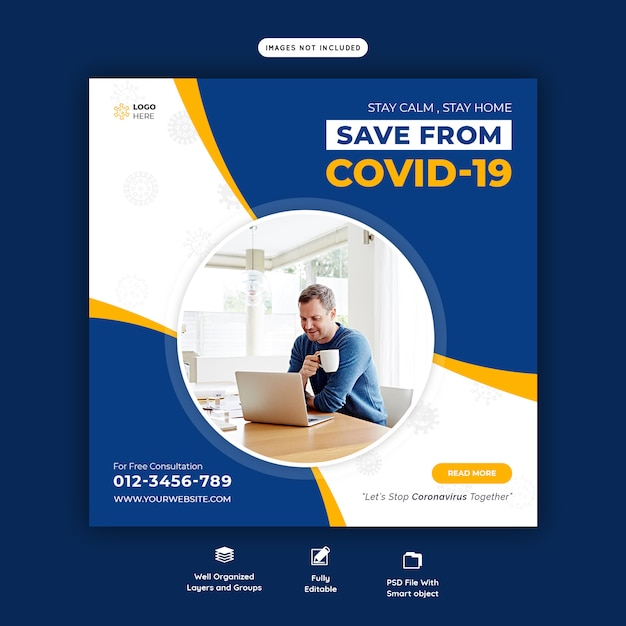 Coronavirus or covid-19 social media banner template Premium Psd