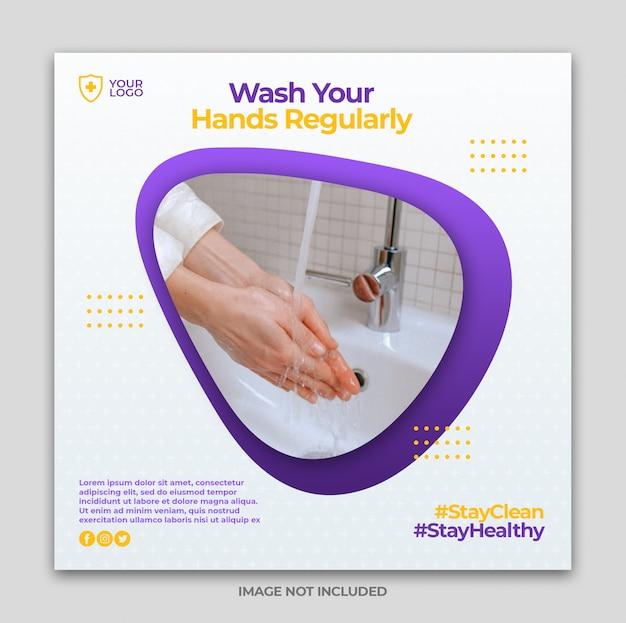 Coronavirus prevention media instagram banner post template or square flyer