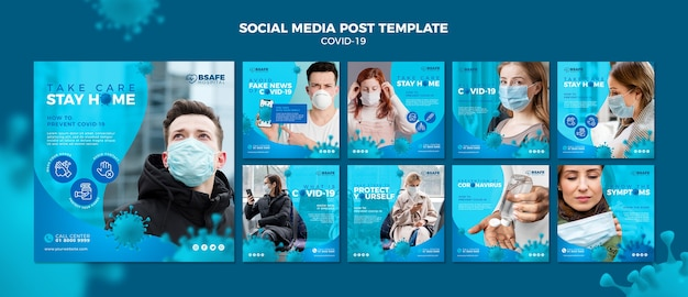 Coronavirus social media post template Free Psd