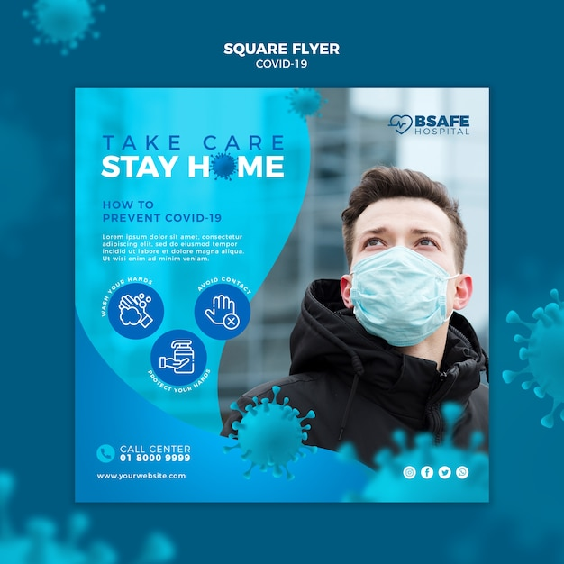 Coronavirus stay at home square flyer Free Psd