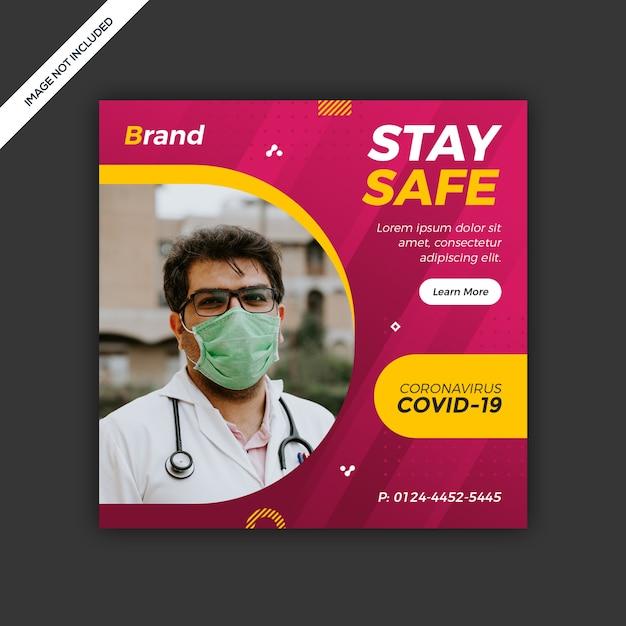 Coronavirus социальные медиа пост дизайн шаблона Premium Psd
