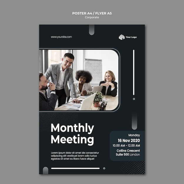 Corporate ad template poster Free Psd