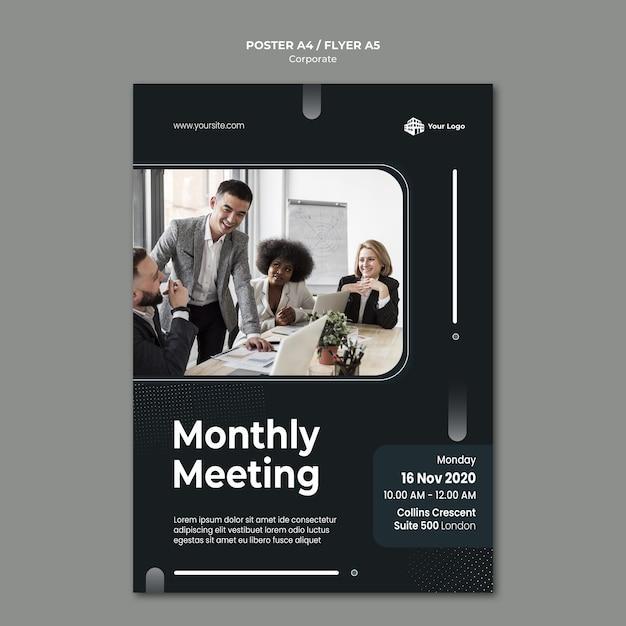 Корпоративный рекламный шаблон плаката Бесплатные Psd