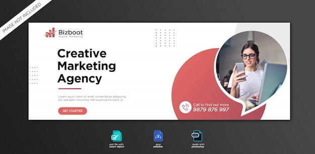 Шаблон обложки facebook для продвижения корпоративного и цифрового бизнеса Premium Psd