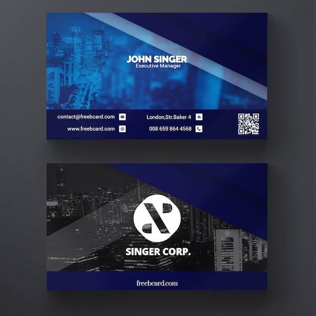 Corporate Business Card Template PSD File Free Download - Business cards templates psd