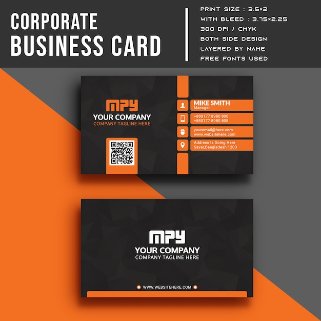 Corporate business card template Premium Psd