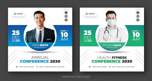Corporate business conference social media post and web banner or square flyer design template Premium Psd