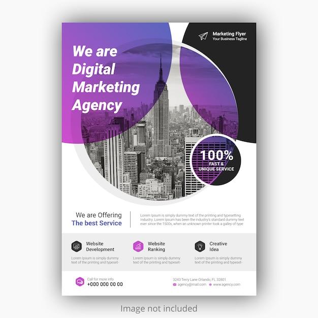 グラデーションカラーの企業ビジネスチラシポスターテンプレート。パンフレットカバーデザインレイアウト Premium Psd