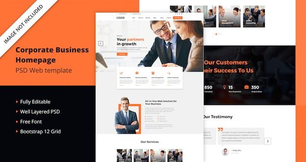 Целевая страница корпоративного бизнеса Premium Psd