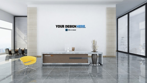 Corporate business office front desk mockup Premium Psd