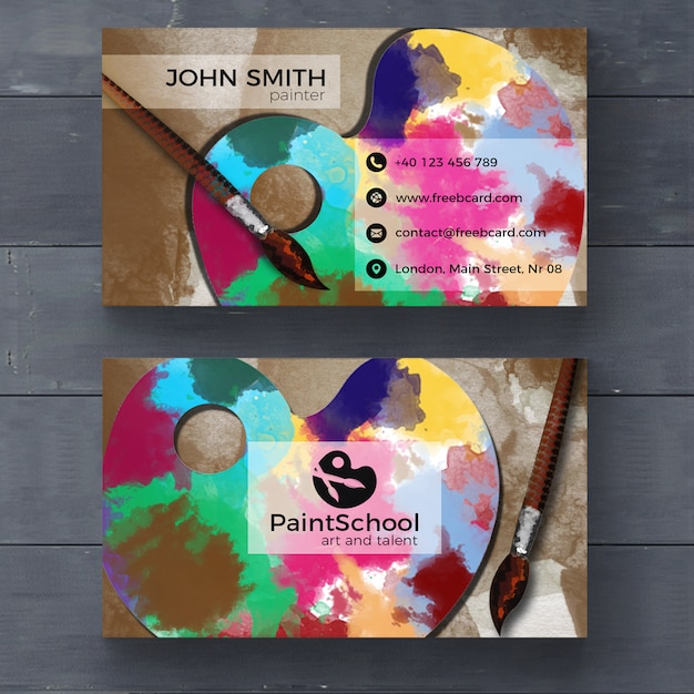 Corporate card for fine arts Free Psd