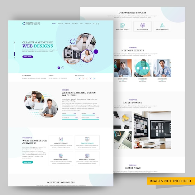 Corporate and creative design agency landing page template Premium Psd