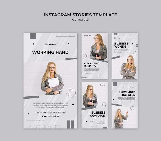 Corporate design instagram stories template Premium Psd