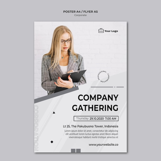 Corporate design template poster Free Psd
