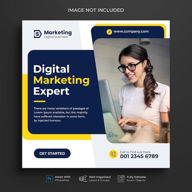 Corporate and digital business marketing promotion instagram post design or social media banner Premium Psd