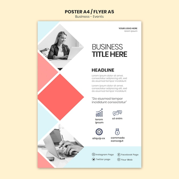 Corporate flyer with business woman Free Psd
