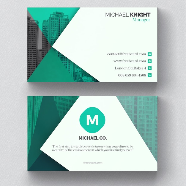 corporate green business card psd file free download