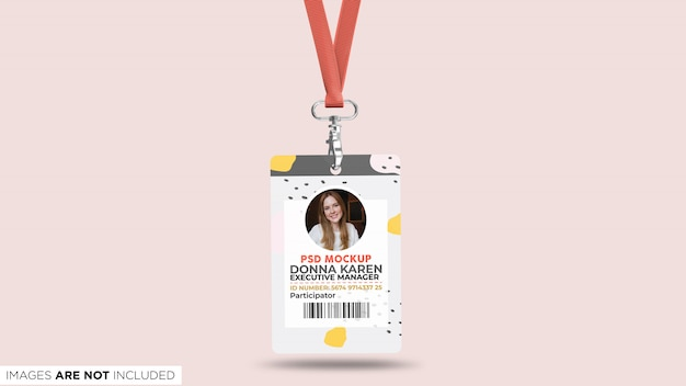 Corporate id card with lanyard front view psd mockup Premium Psd