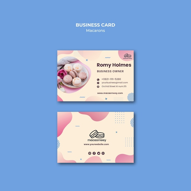 Corporate identity with macarons Free Psd