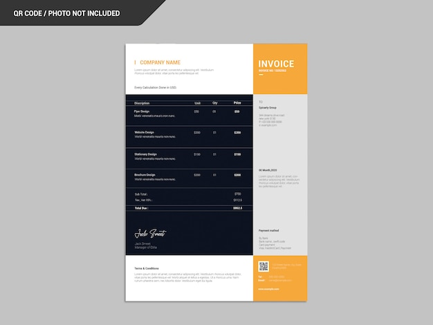 Corporate invoice template Premium Psd